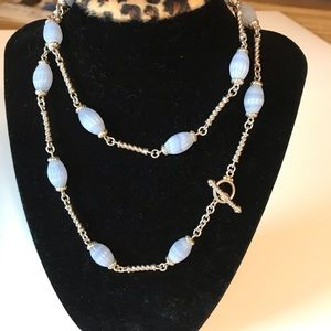 🌸 Judith Ripka Blue Lace Agate Necklace